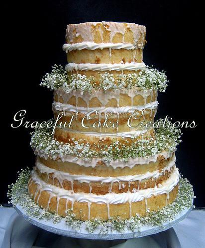 Angel Food Wedding Cakes  Rustic Naked Angel Food Wedding Cake with Baby s Breath