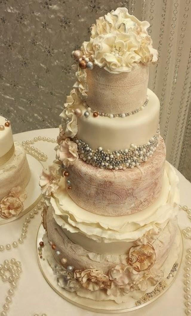 Antique Wedding Cakes  Vintage Wedding Ruffle An Pearl Vintage Wedding Cakes