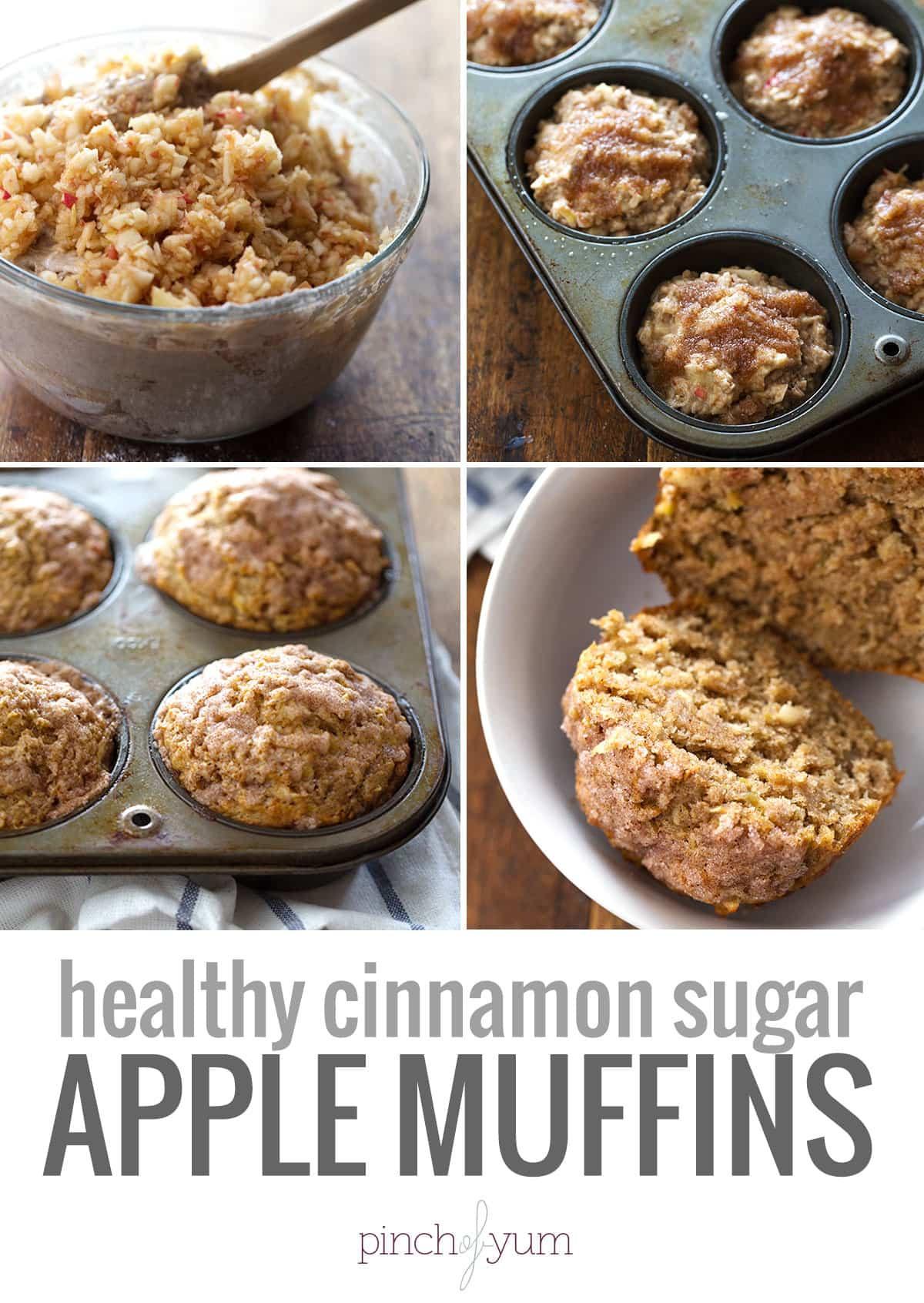 Apple Recipes Healthy  Healthy Cinnamon Sugar Apple Muffins Recipe Pinch of Yum