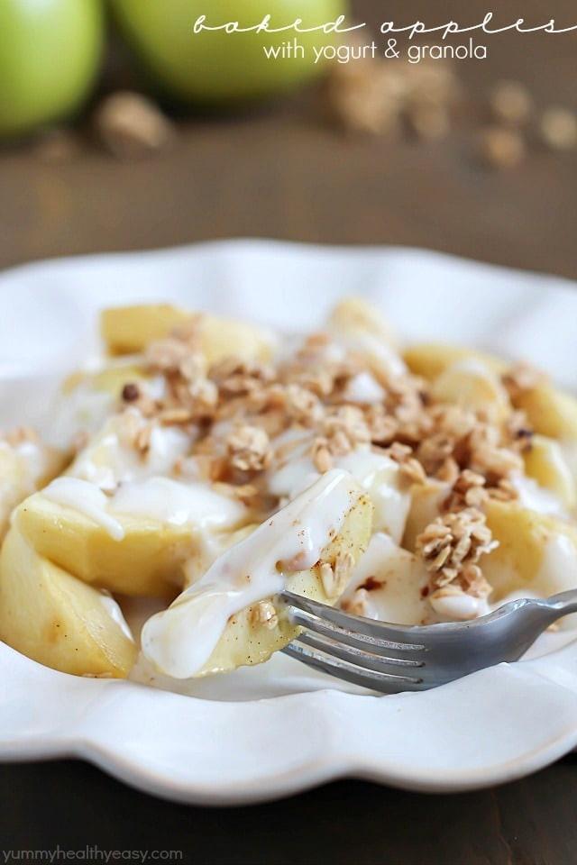 Apples Dessert Healthy  Baked Apples with Yogurt & Granola Yummy Healthy Easy