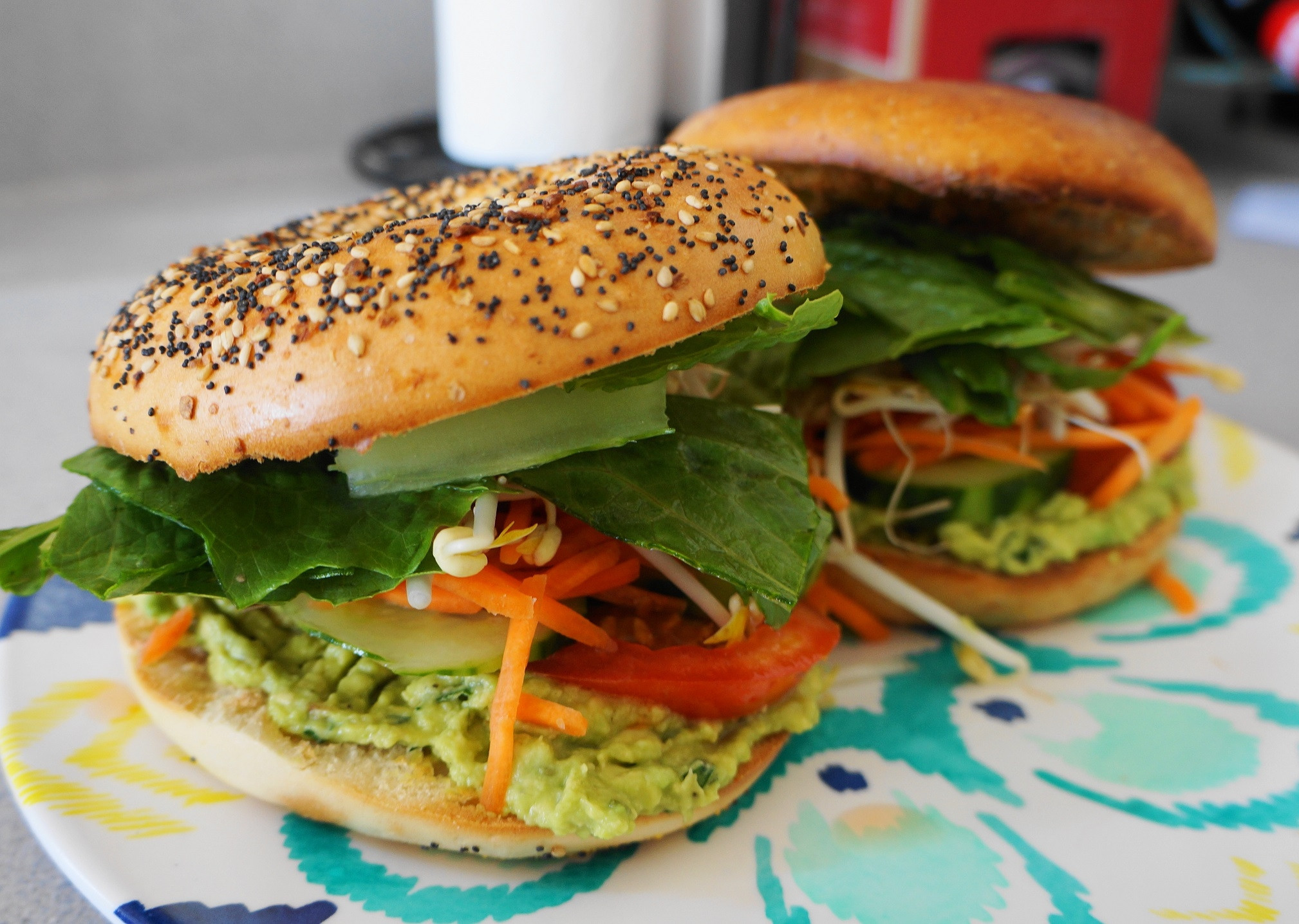 Are Bagels Healthy  Vegan Bagel Sandwiches with Herbed Avocado Spread V