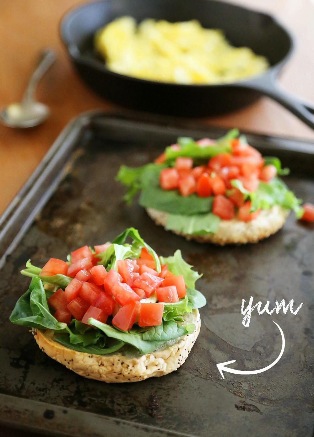 Are Bagels Healthy  Open Faced Bagel Breakfast Sandwich
