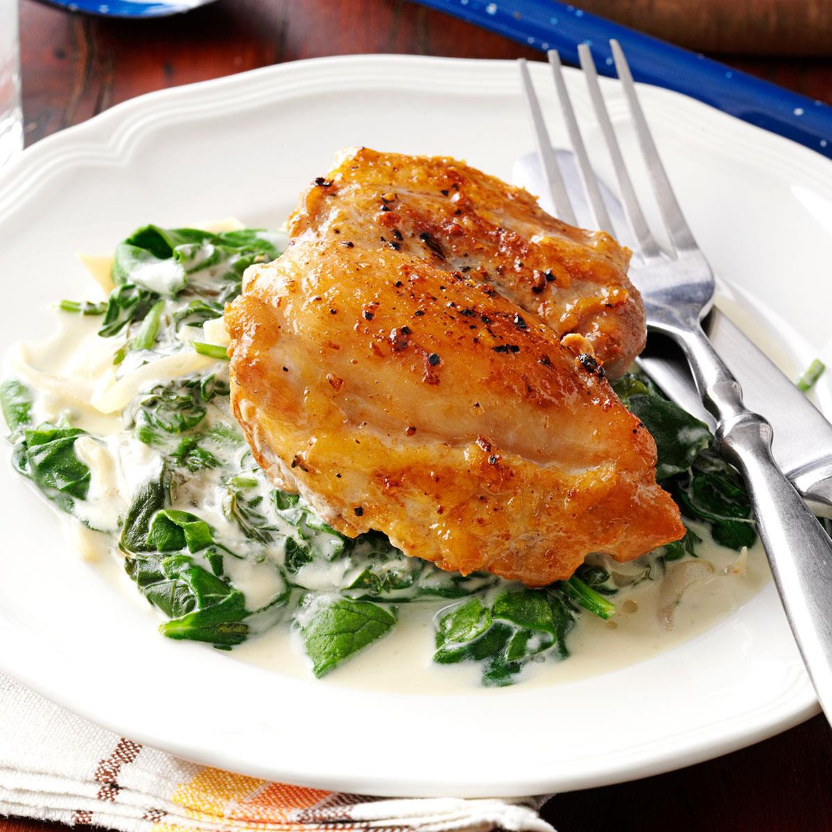 Are Chicken Thighs Healthy  Chicken Thighs with Shallots & Spinach Recipe
