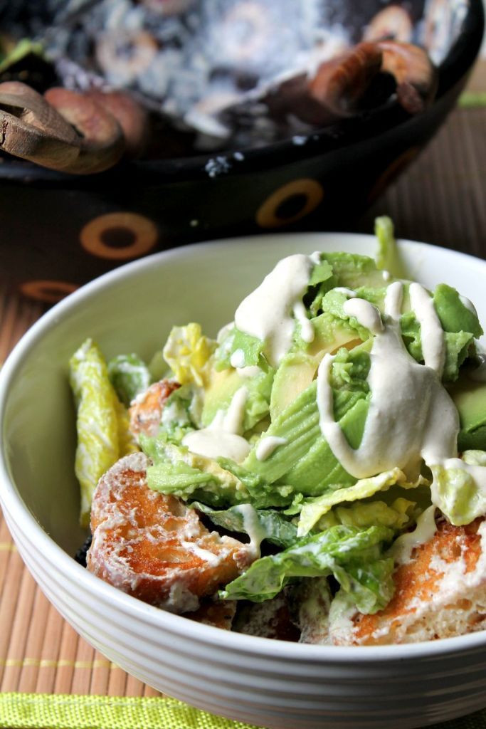 Are Croutons Healthy  Vegan caesar salad with avocado and garlic croutons