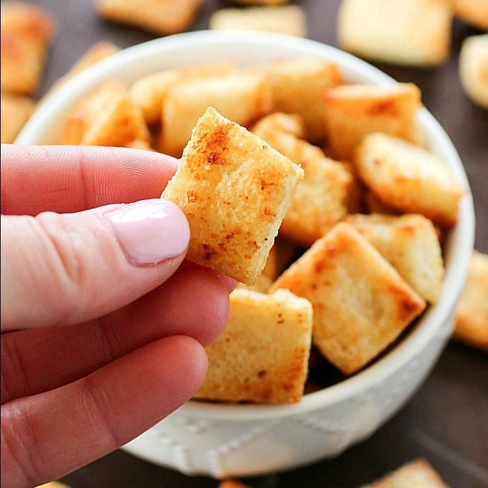 Are Croutons Healthy  Garlic Parmesan Homemade Croutons Yummy Healthy Easy