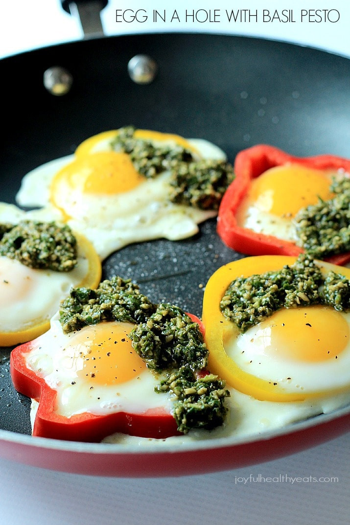 Are Eggs A Healthy Breakfast  Egg in a Hole with Basil Pesto