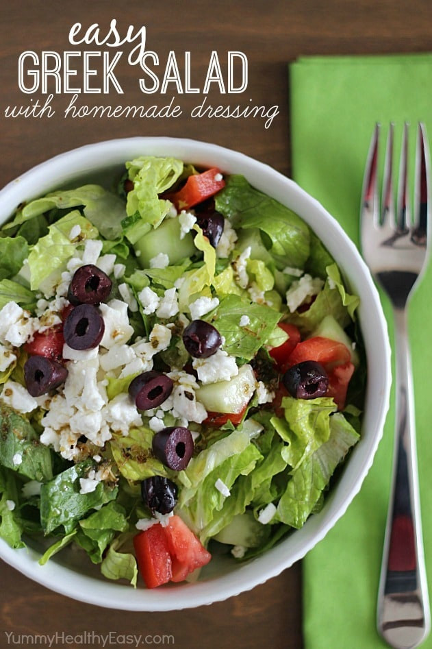 Are Greek Salads Healthy  Easy Greek Salad with Homemade Dressing Yummy Healthy Easy