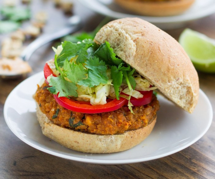 Are Hamburgers Healthy  Spicy Thai Peanut Veggie Burgers Recipe Food Republic