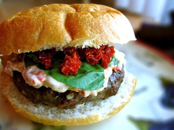 Are Hamburgers Healthy  Basil Beef Burgers with Sun Dried Tomato Herb Aioli