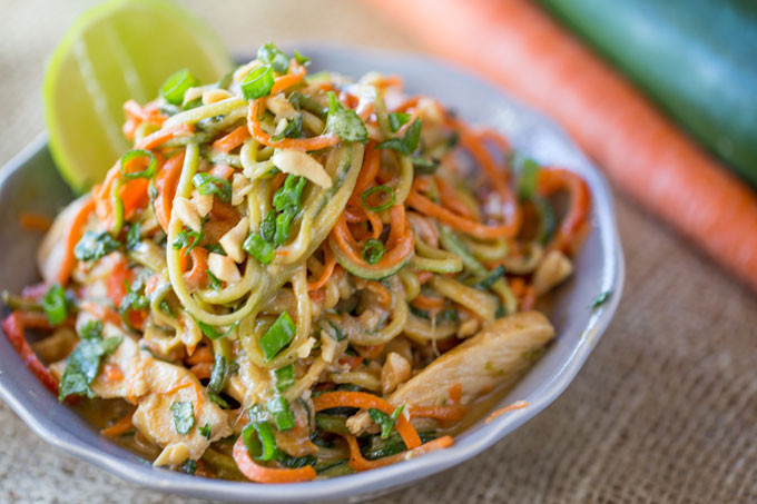 Are Noodles Healthy  Healthy Thai Peanut Chicken Zucchini Noodles Dinner