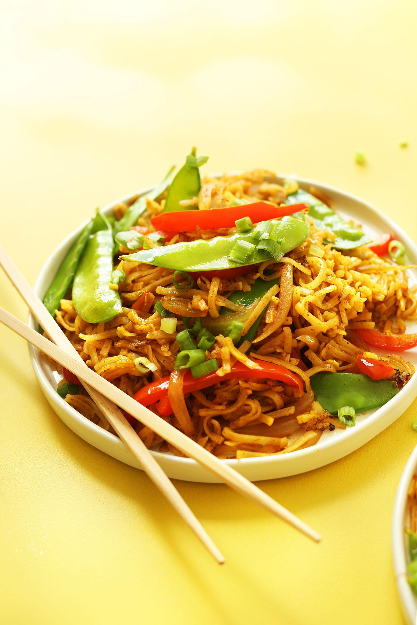 Are Noodles Healthy  EASY Vegan Singapore Noodles 10 ingre nts simple