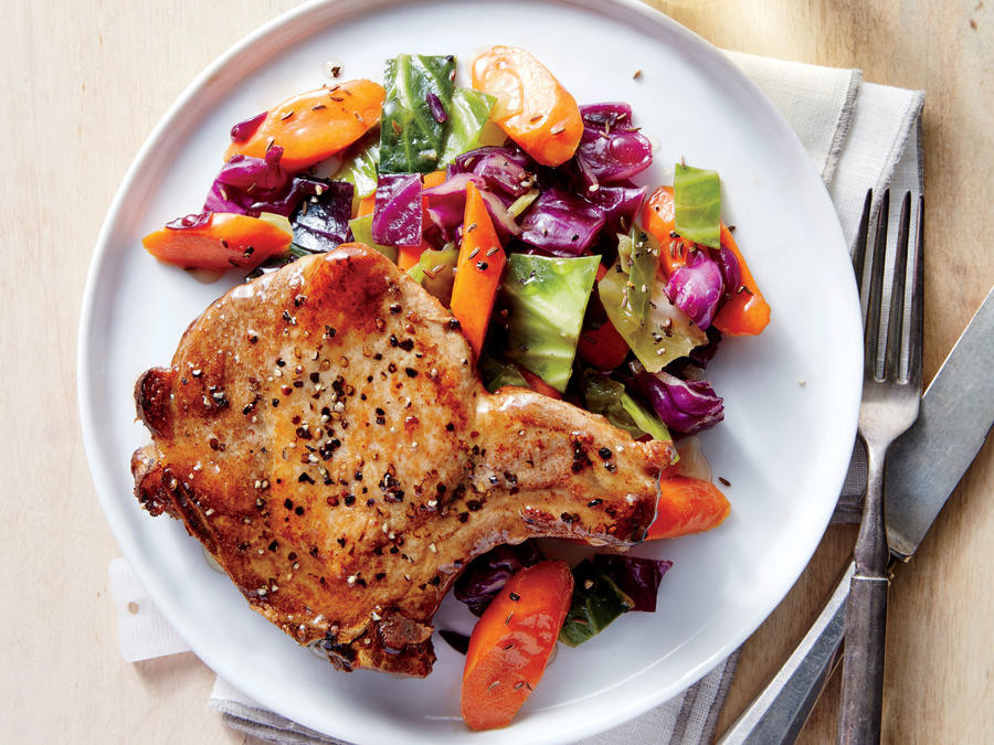 Are Pork Chops Healthy For You  Pan Roasted Pork Chops with Cabbage and Carrots Recipe