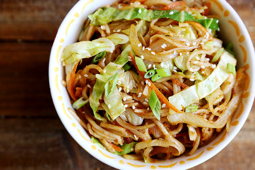 Are Rice Noodles Healthy  ion Cabbage and Carrot Rice Noodles Stir Fry Noodles