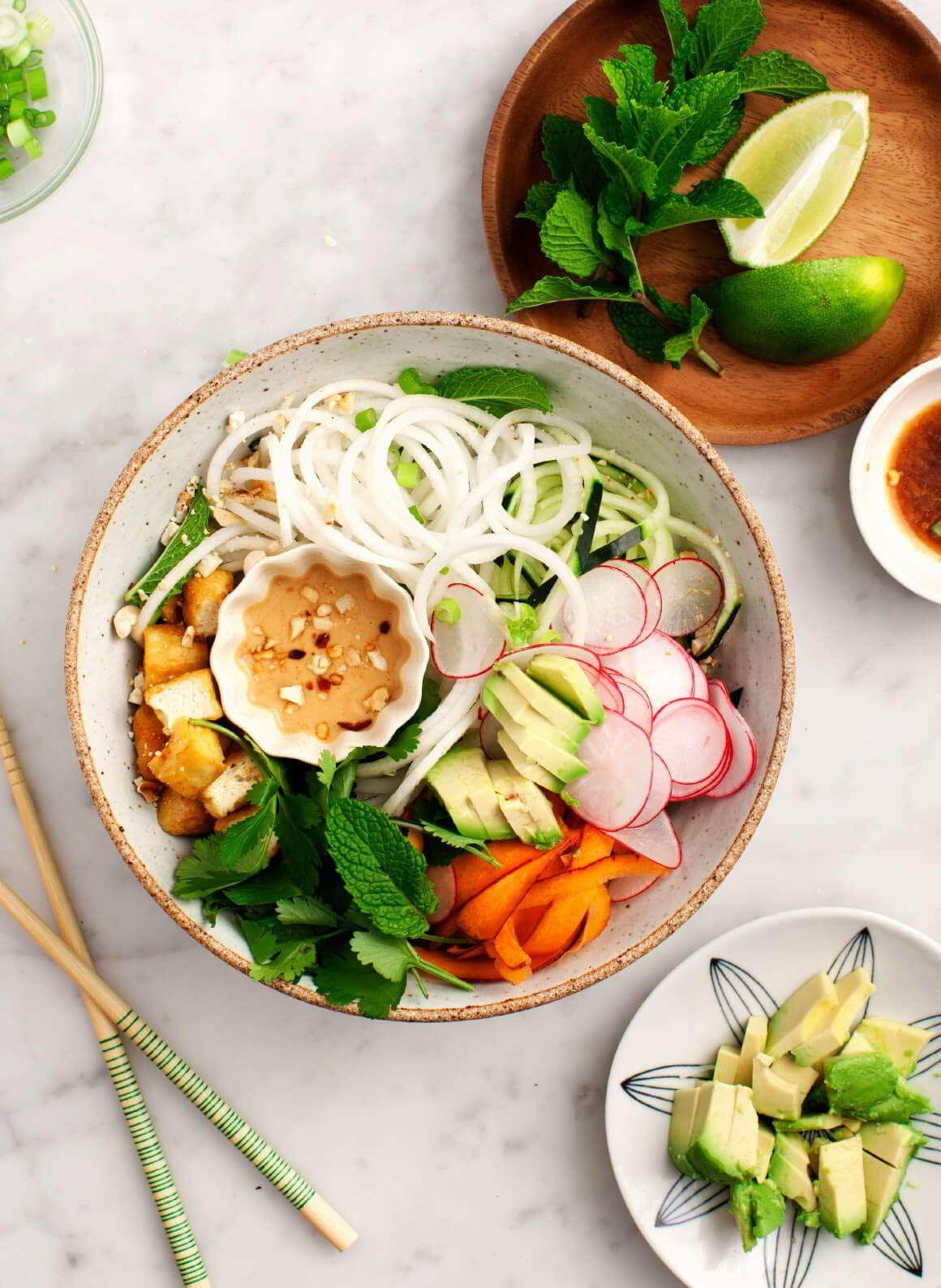 """Are Rice Noodles Healthy  Spiralized Daikon """"Rice Noodle"""" Bowl Recipe Love and Lemons"""