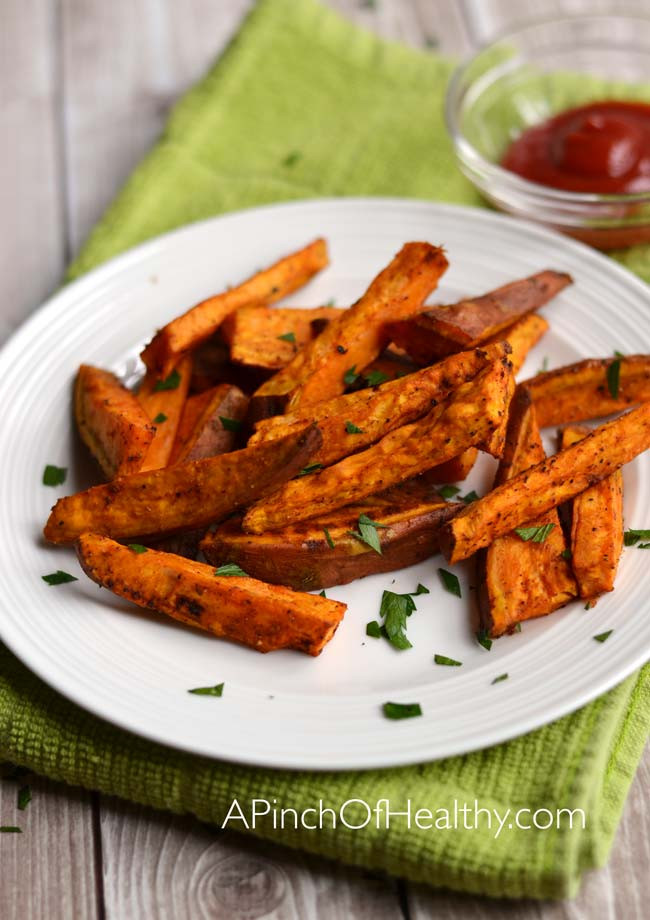 Are Sweet Potato Fries Healthy  Oven Baked Sweet Potato Fries A Pinch of Healthy