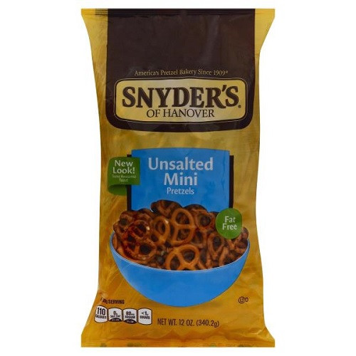 Are Unsalted Pretzels Healthy  Snyders Pretzels Minis Unsalted 12 oz bag