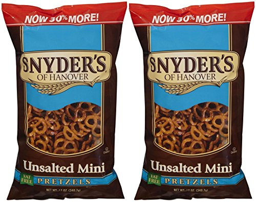 Are Unsalted Pretzels Healthy  Snyder s of Hanover Mini Unsalted Pretzel 12 oz 2 pk