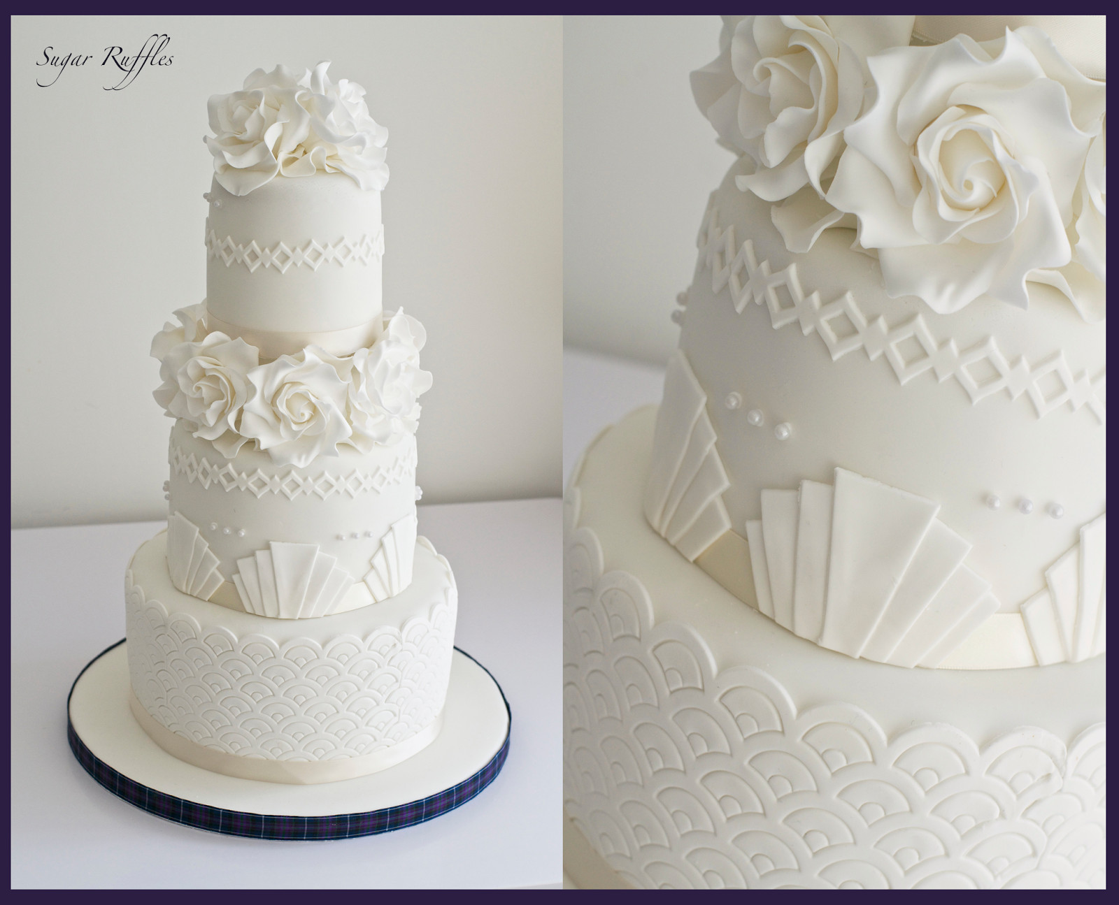 Art Deco Wedding Cakes  Art deco elegant piping and hydrangea flowers