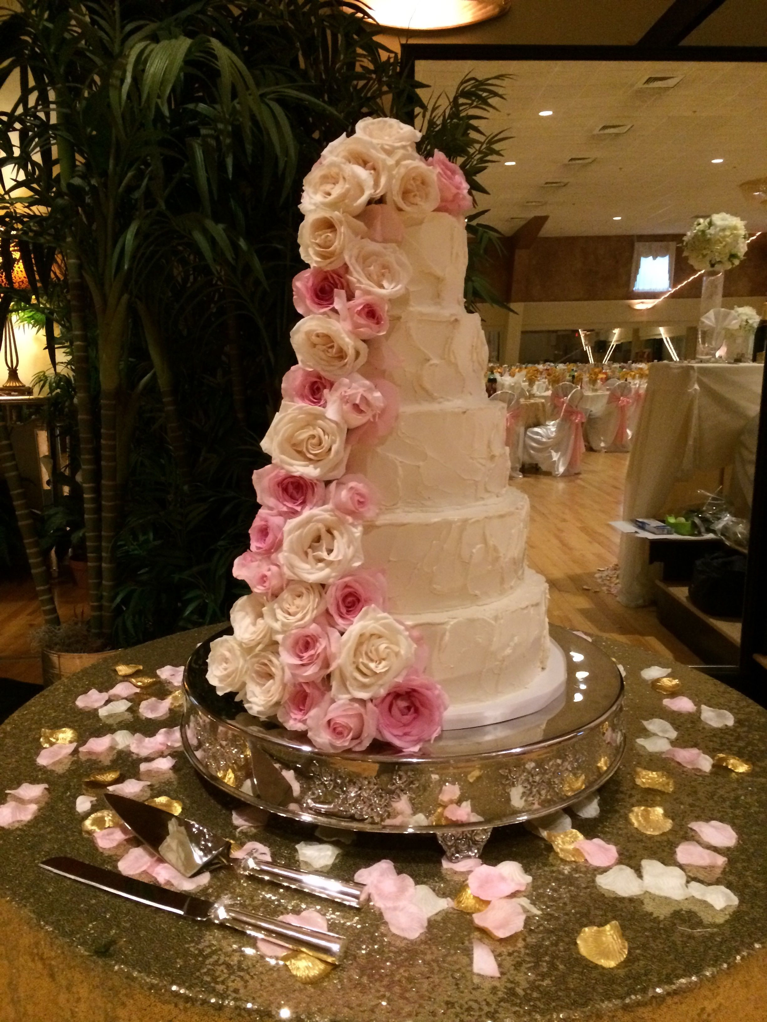 Asheville Wedding Cakes  Five Tier Wedding Cake Sculpted Buttercream With Fresh