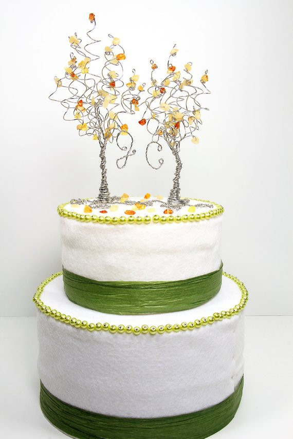 Aspen Tree Wedding Cakes  Golden Aspen Trees Wedding Cake Topper Two Wire by