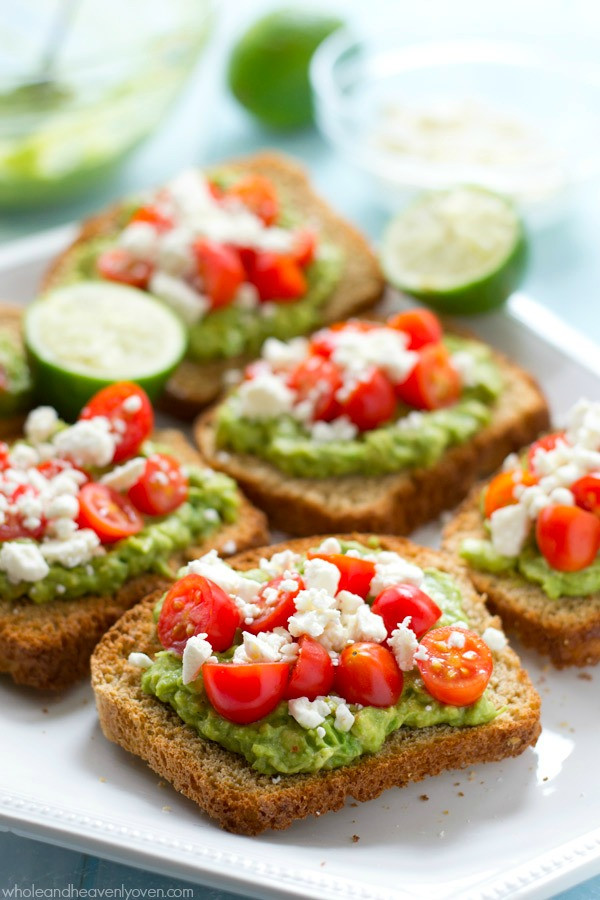 Avocado On Toast Healthy Breakfast  Greek Avocado Toast with Cherry Tomatoes