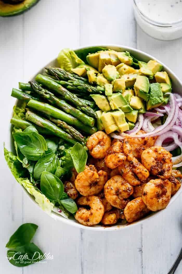 Avocado Recipes Healthy  Blackened Shrimp Asparagus and Avocado Salad Cafe Delites