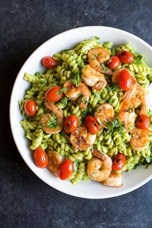 Avocado Recipes Healthy  Chimichurri Avocado Pasta with Pan Seared Shrimp