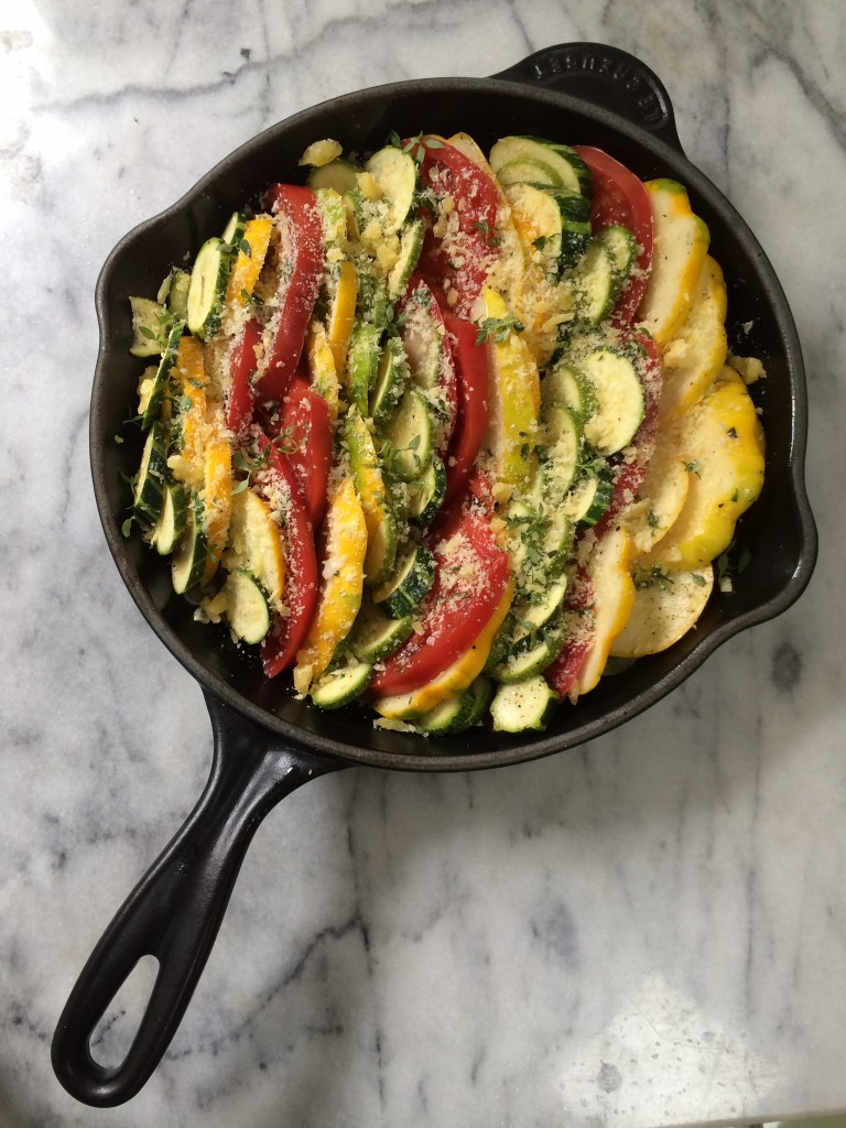 Baked Summer Squash  Baked Summer Squash Zucchini ions and Heirloom Tomatoes