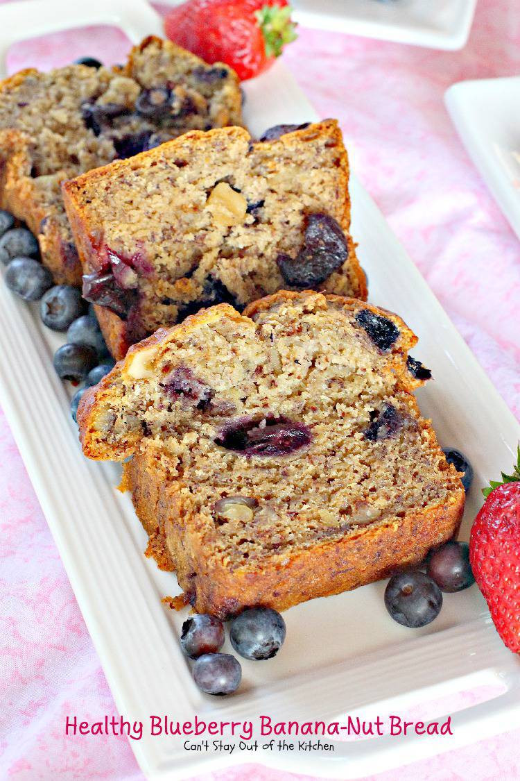 Banana Blueberry Bread Healthy  Healthy Blueberry Banana Nut Bread Can t Stay Out of the