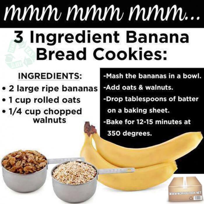 Banana Bread Cookies Healthy  3 Ingre nt Banana Bread Cookies Healthy Fitness