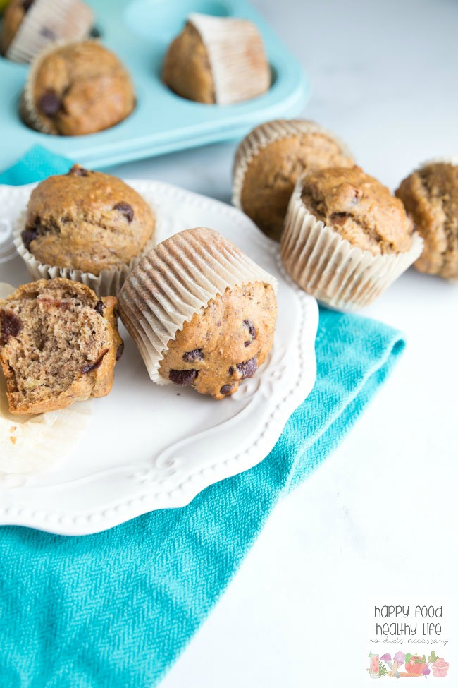 Banana Bread Muffins Healthy  Dark Chocolate Chip Whole Wheat Banana Bread Muffins