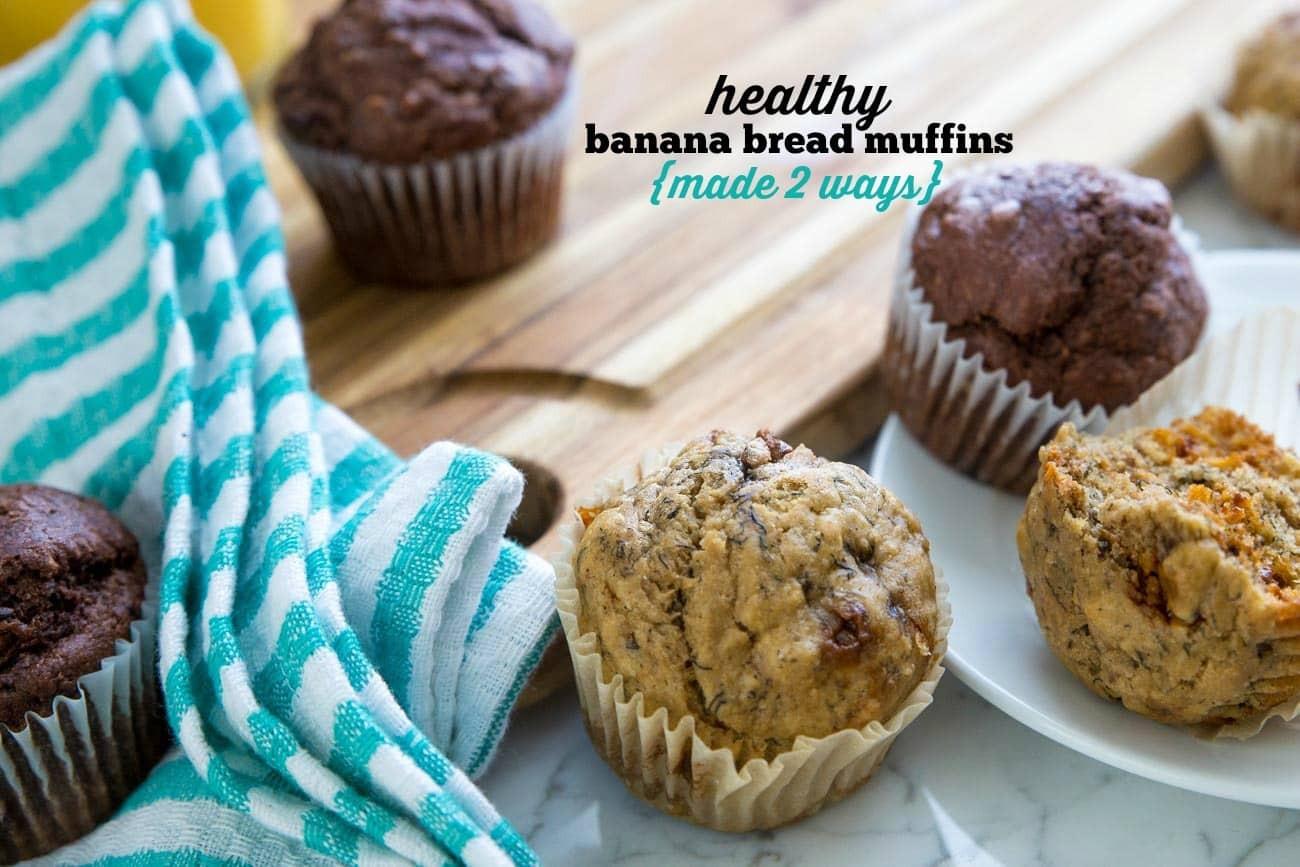 Banana Bread Muffins Healthy  Healthy Banana Bread Muffins Made 2 Ways Peanut Butter