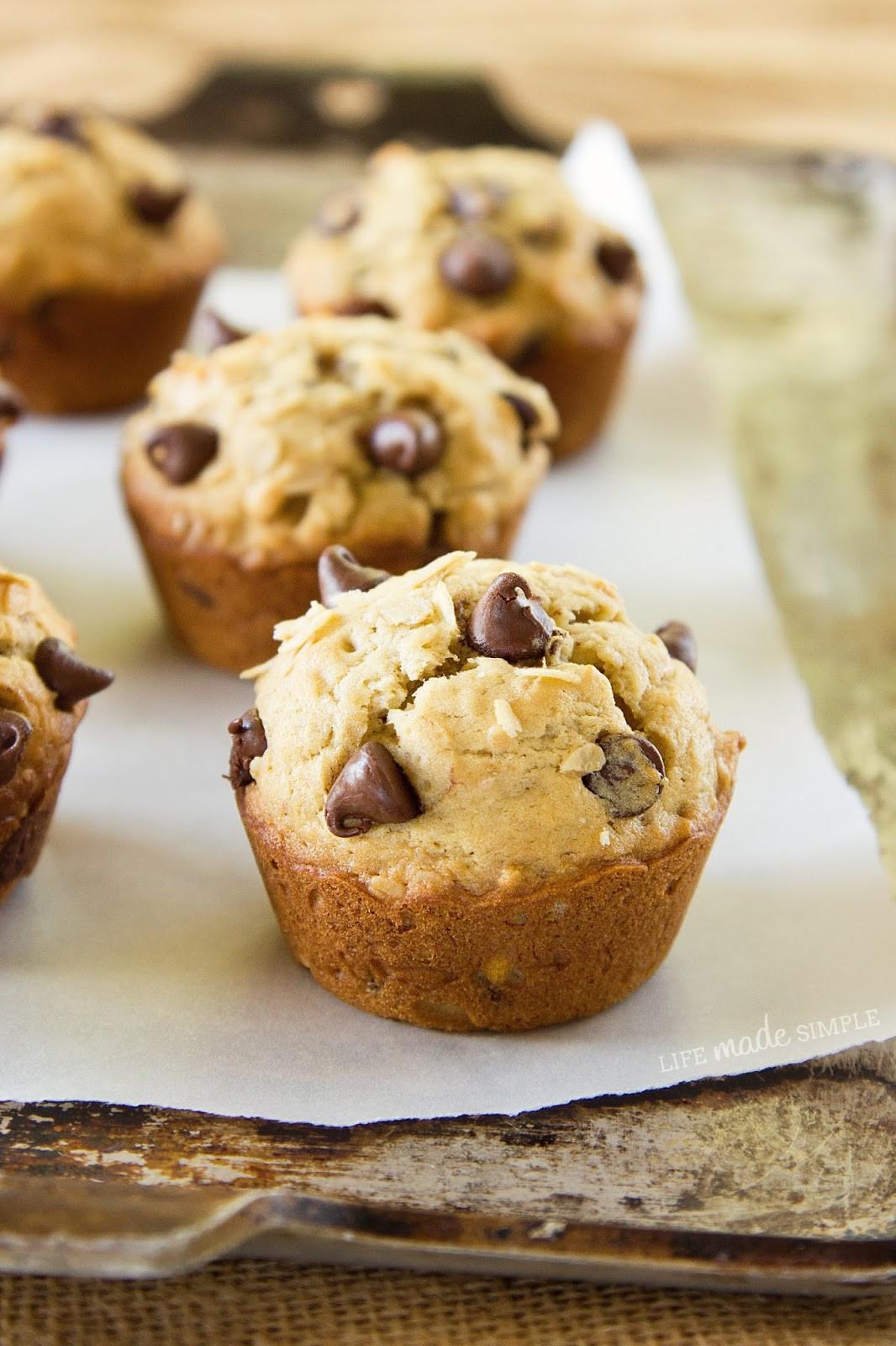Banana Chocolate Chip Muffins Healthy  Oatmeal Chocolate Chip Banana Muffins Life Made Simple