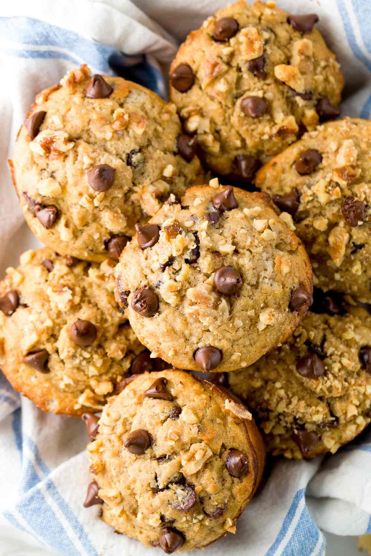 Banana Chocolate Chip Muffins Healthy  Banana Chocolate Chip Muffins Topped with Walnuts