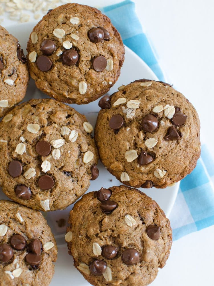 Banana Chocolate Chip Muffins Healthy  Maple Sweetened Healthy Banana Muffins with or without
