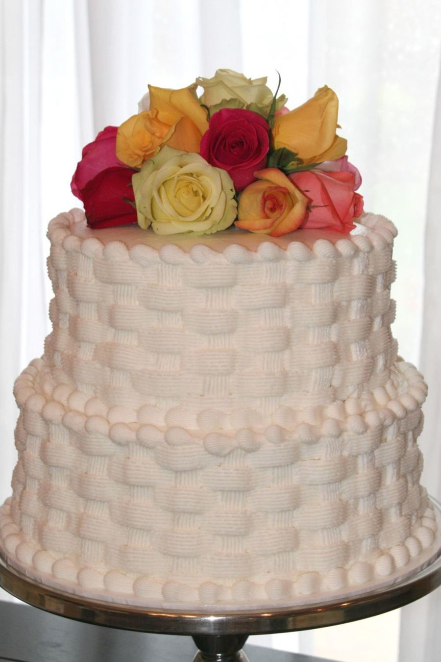 Basket Weave Wedding Cakes  Mandy s Basketweave Wedding Cake CakeCentral