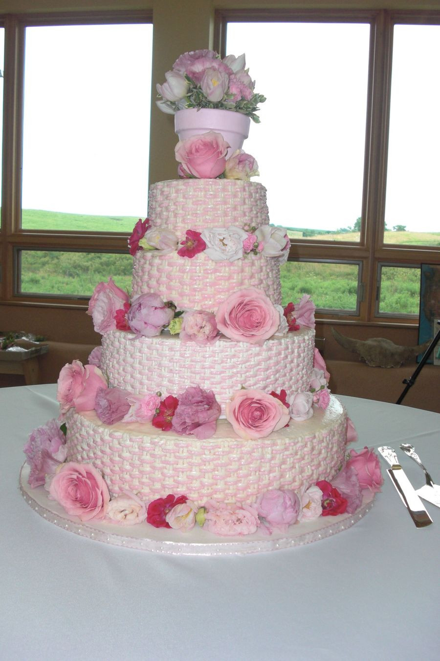 Basket Weave Wedding Cakes  Pink Basket Weave Wedding Cake CakeCentral