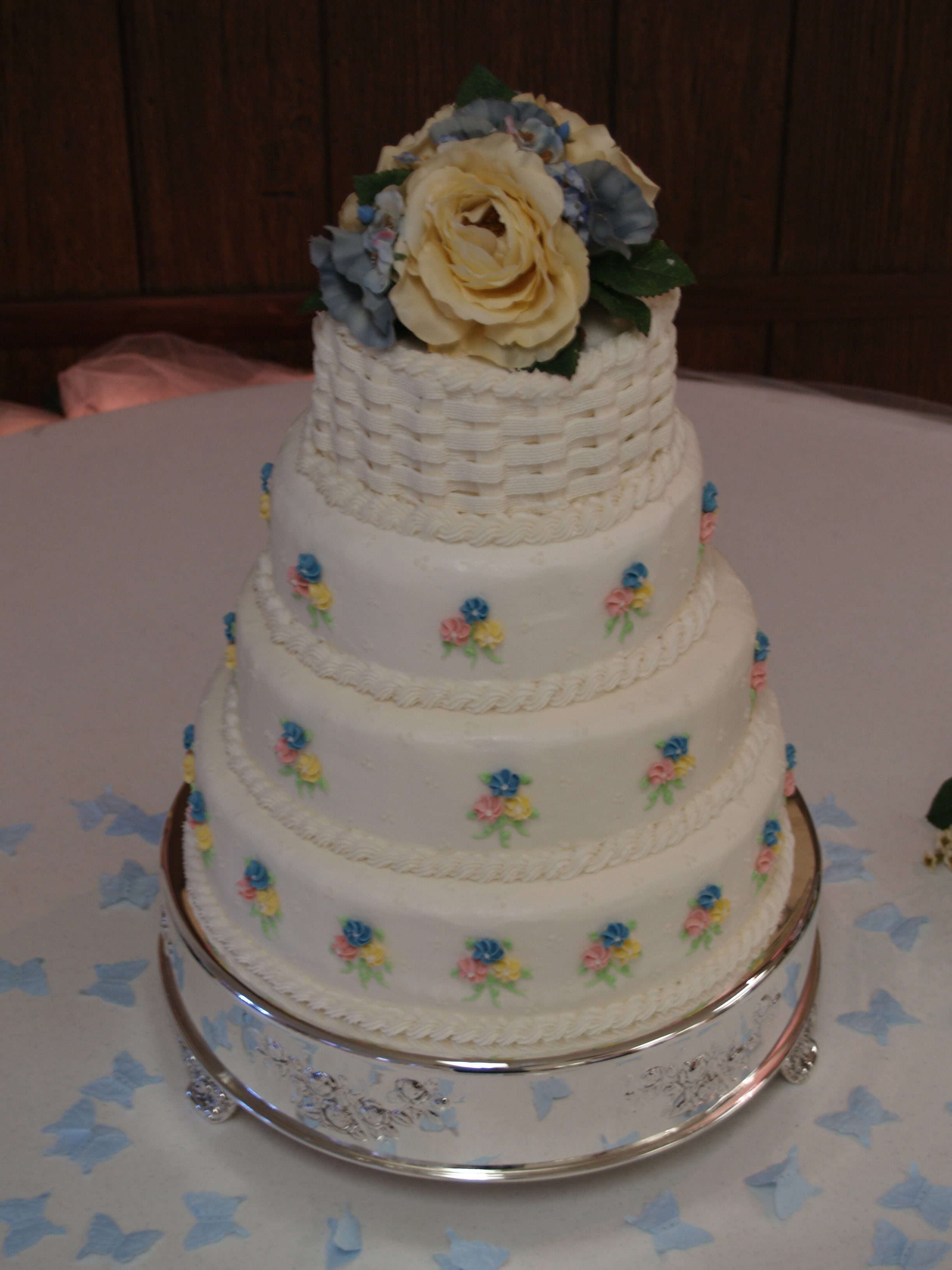 Basket Weave Wedding Cakes  4 tier basket weave front