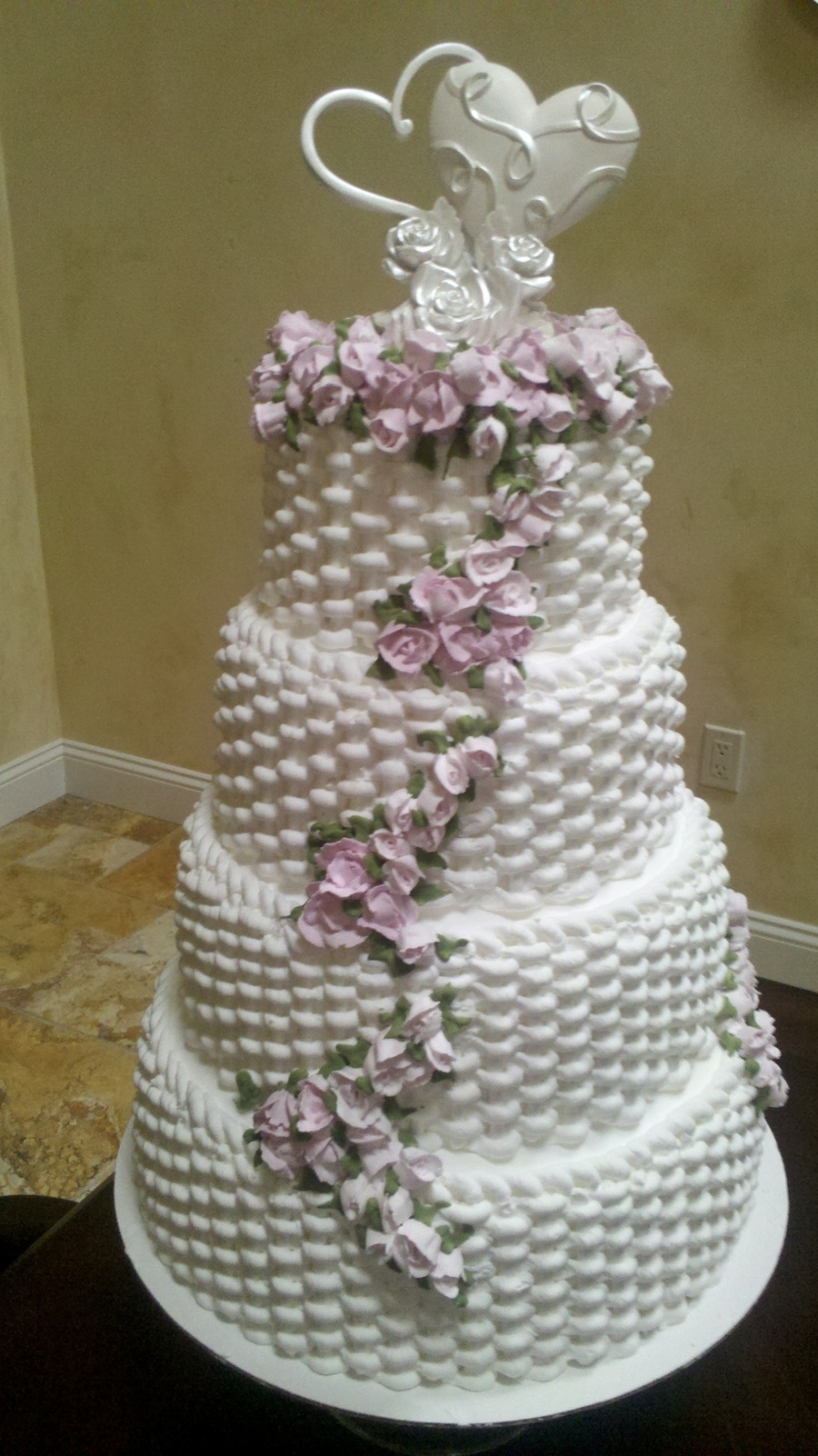 Basket Weave Wedding Cakes  Basket Weave Rose Cake CakeCentral