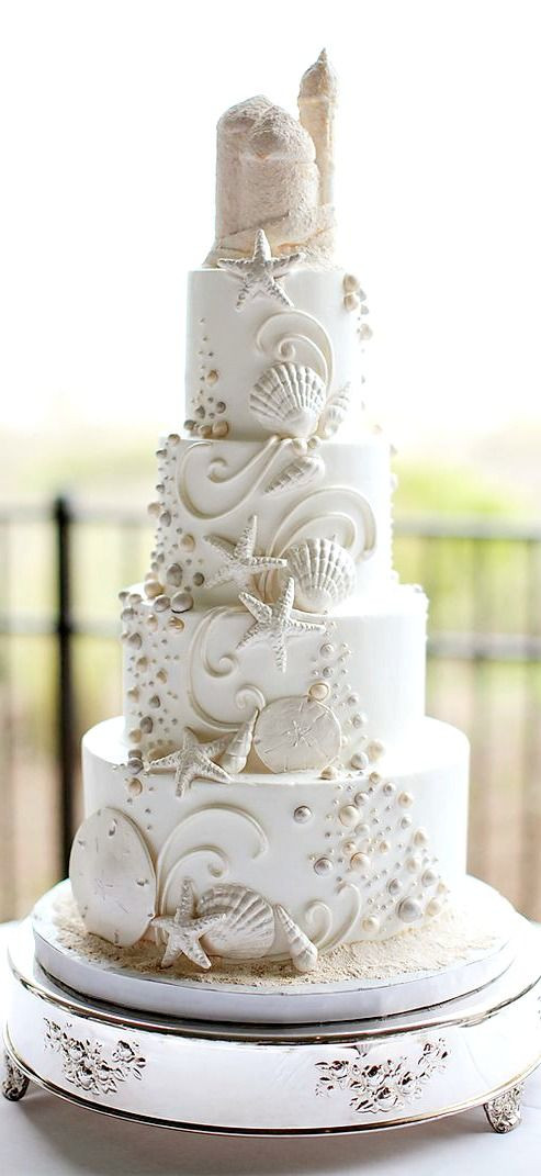 Beach Themed Wedding Cakes  30 White Wedding Cake Designs That Will Leave You Wanting e