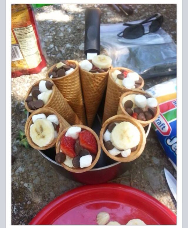 Best Camping Desserts  Camping desserts Waffle cones marshmallows chocolate