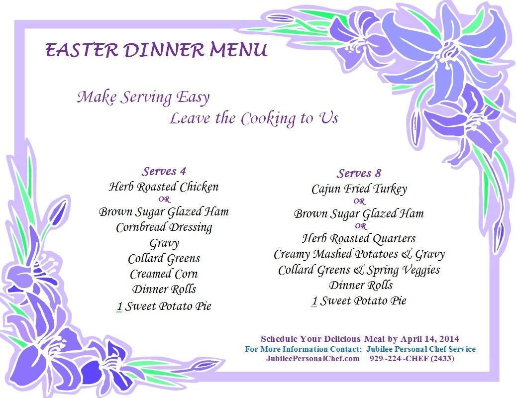 Best Easter Dinner Menu  Easter Dinner Menu