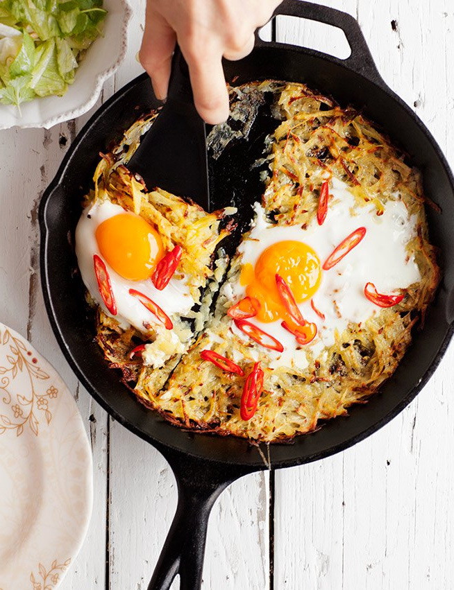 Best Healthy Fast Food Breakfast  Potato with Egg & Chili Skillet – Best Fast Healthy