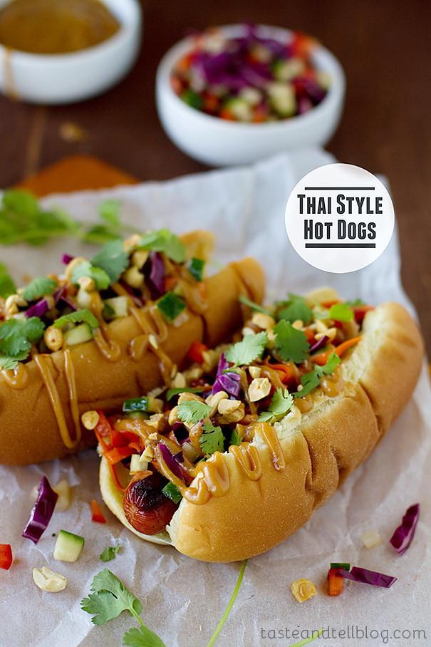 Best Healthy Hot Dogs  Hot Dog Sandwich & Thai Spicy Salad – Best Fast Healthy