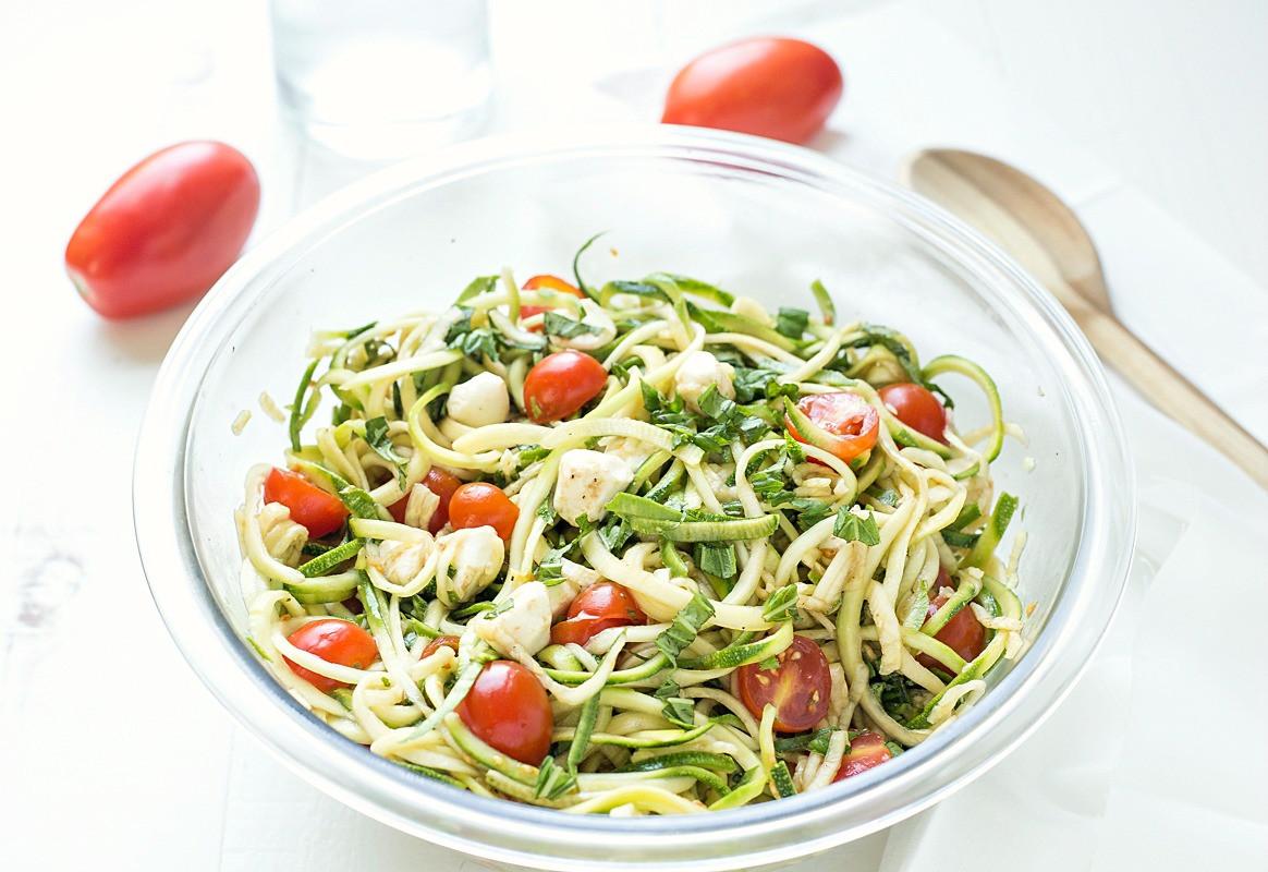 "Best Summer Pasta Salad  Simple Caprese Zucchini Summer ""Pasta"" Salad Gal on a"