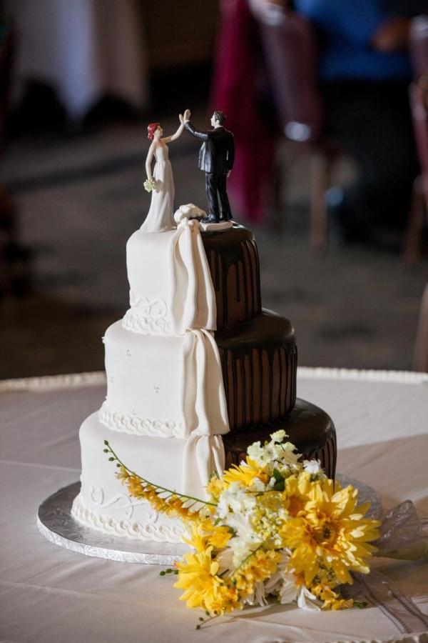 Bethel Bakery Wedding Cakes  Half White and Half Chocolate wedding cake with cake