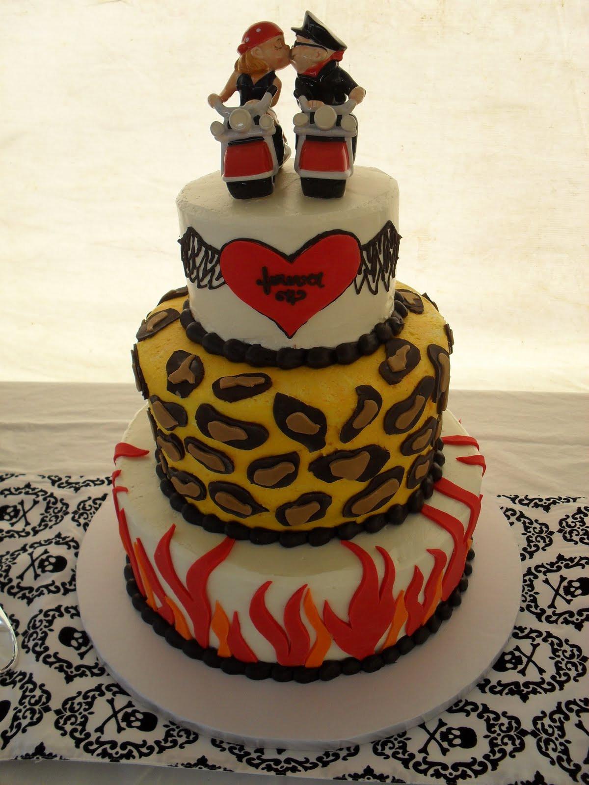 Biker Wedding Cakes  Brandi s Sweets Biker Themed Wedding Cake