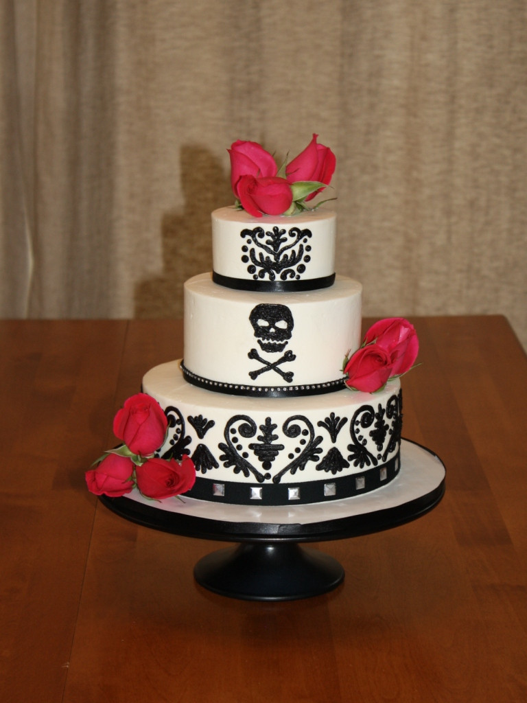 "Biker Wedding Cakes  Party Cakes Black and White Wedding Cake ""Biker Elegance"""