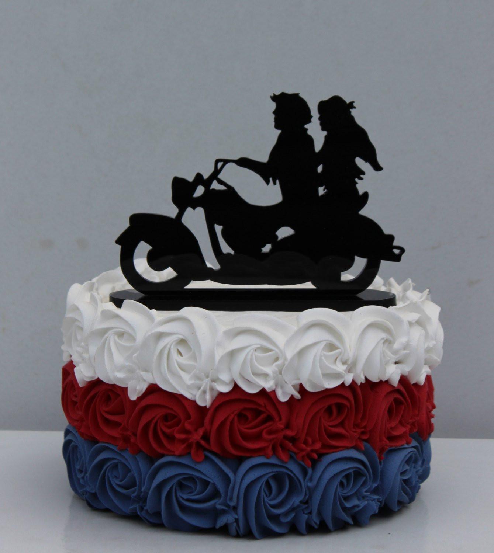Biker Wedding Cakes  Motorcycle BIKER Wedding Cake topper motorcyclist by