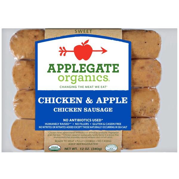 Bilinski'S Organic Chicken Sausage  Applegate Organic Chicken & Apple Dinner Sausage from